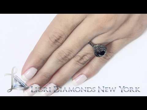BDR-037 - 2.41 Carat Certified Black Diamond Engagement Ring 18k Black Gold Vintage Style
