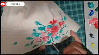 벙거지모자에 꽃그림 그리기