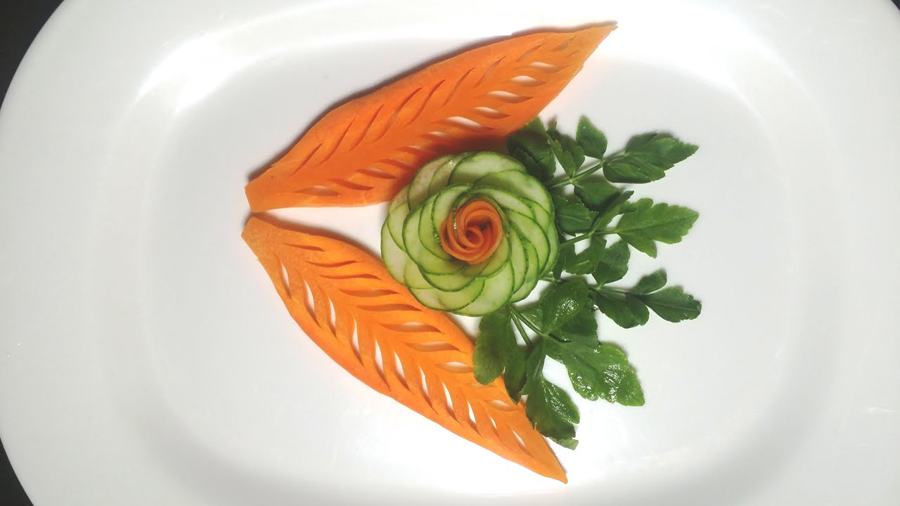 Simple carrot leaf designs fruit vegetable carving