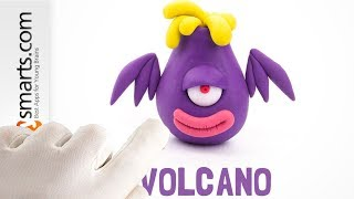 Hey Clay Volcano - real Play Doh demo from Hey Clay Aliens app for preschoolers