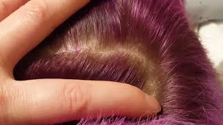 Read description ASMR purple hair dandruff scalp scratching picking comb fingernails talking