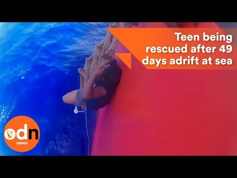 Video of teen being rescued after spending 49 days adrift at sea