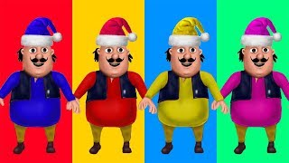 Learn Colors Motu Patlu Wrong Colors Santa hat kids Song Nursery Rhymes