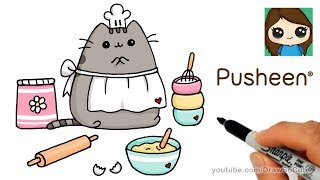 How to Draw Pusheen Baking Sweets Easy