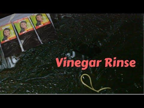 Vinegar rinse on synthetic kanekalon hair : Abuja braids