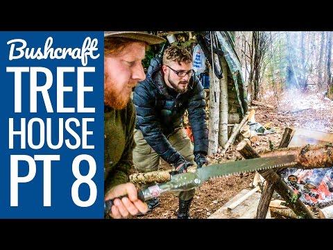 Bushcraft Treehouse 8: Bushcraft Camp - Wet Weather Fire Making - Decking for floor