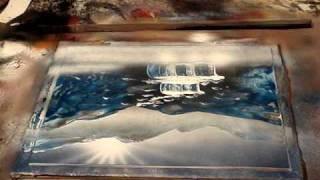 tableau fait avec des bombes de peinture