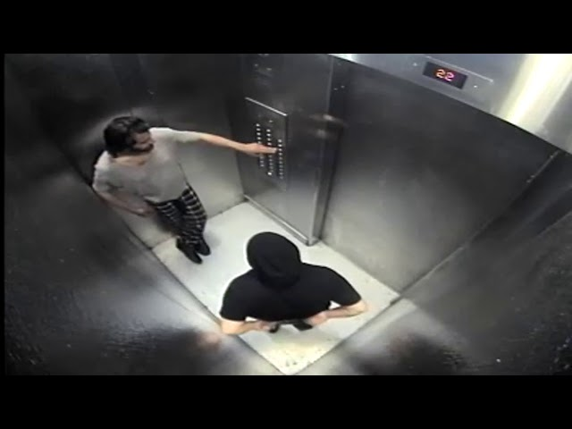 Security video presented in court at the murder trial of Ian Albert Ohab shows Ohab, left, meeting Melissa Cooper in an elevator at 220 Oak St. on April 15, 2016, the last day she was seen alive. (Credit: Ontario Superior Court exhibit)