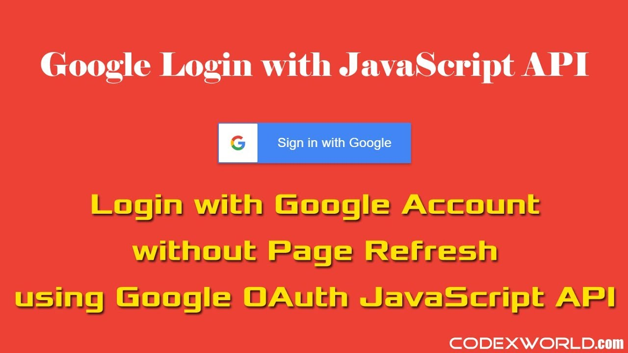 Login with Google Account using JavaScript - CodexWorld