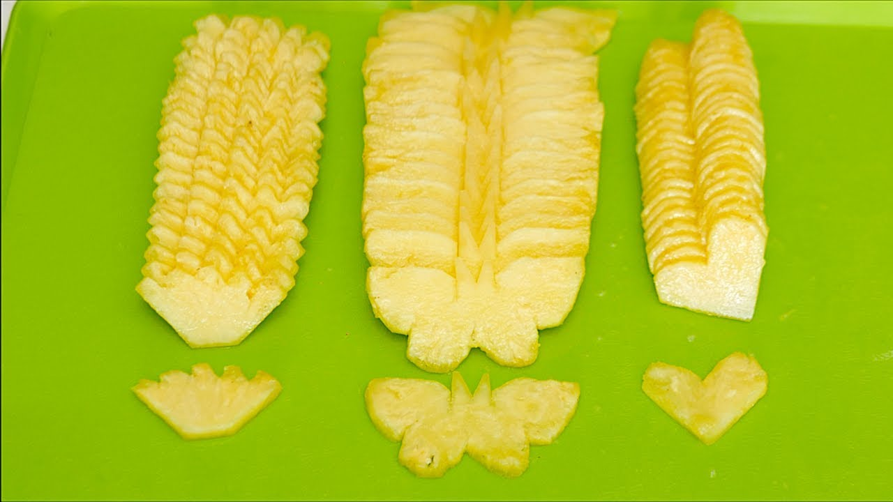 How To CUT PINEAPPLE With DIFFERENT SHAPES