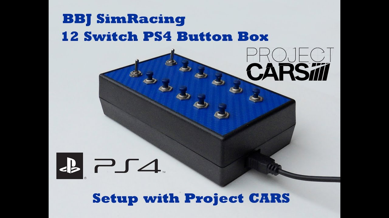 BBJ SimRacing Playstation 4 12 switch button box setup with Project Cars