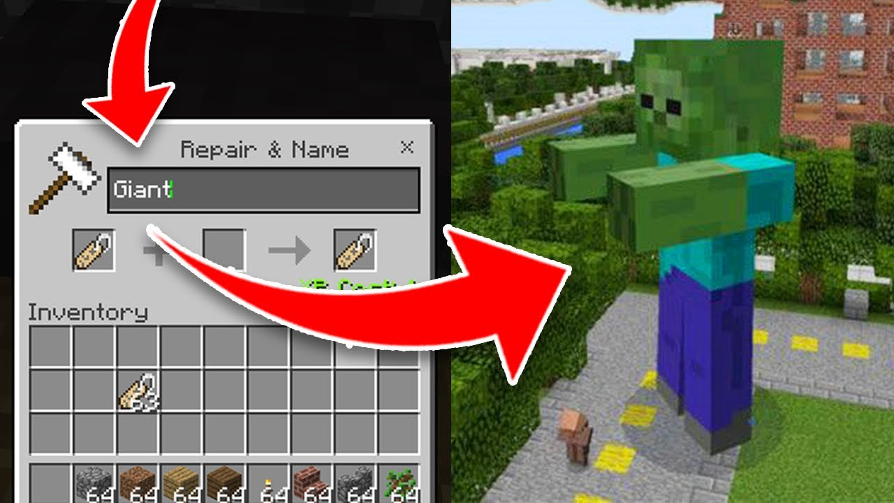 How To Spawn Secret Giant Mobs In Minecraft Pocket Edition Nametag Addon