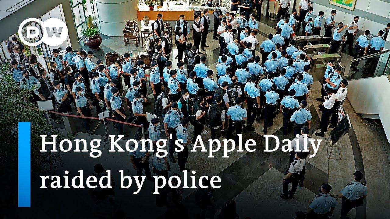 Download Hong Kong police raid pro-democracy newspaper Apple Daily, arresting 5 executives | DW News