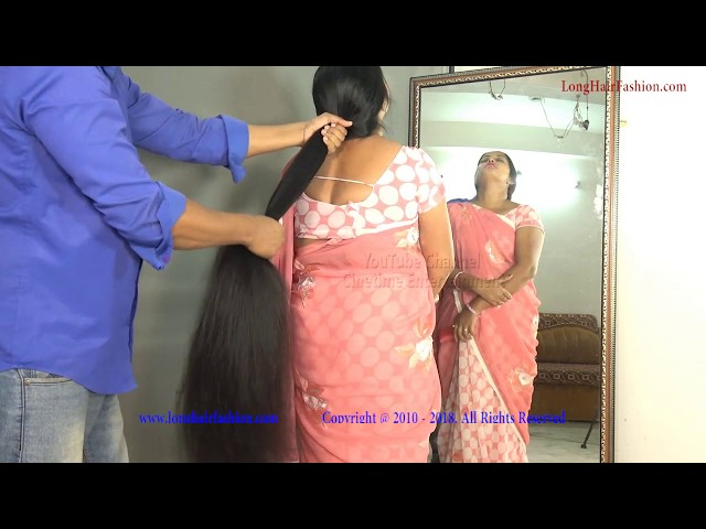 Long Hair Pulling with Very Thick Below Knee Length Hair of Ritika