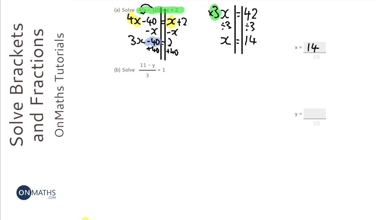 Solving Linear Equations: Brackets and Fractions (Grade 4