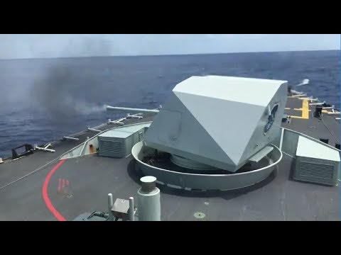 Canadian Navy: Blasting a killer tomato with a 57mm gun, HMCS Vancouver FFH 331 live fire