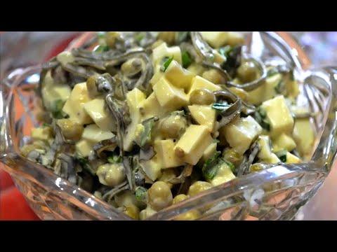 Простой салат из морской капусты с яйцом и консервированным горошком /Salad From Sea Kale With Egg.