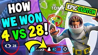 How We Won 4 VS 28 On Fortnite 50 VS 50! The Most EPIC WIN / CLUTCH in Fortnite Battle Royale!