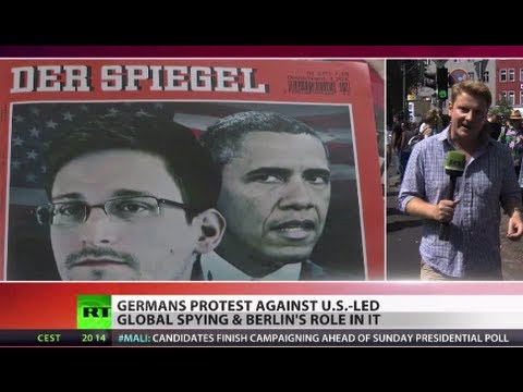 '1984 is now!': Germans protest Berlin's role in NSA spying on Snowden Day