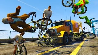 GTA 5 GET THE JACKAL - TRUCKS vs BICYCLES GTA 5 ROAD RAGE - (GTA 5 Gameplay)
