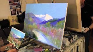Горы и растения, научиться рисовать, уроки по живописи, художник Сахаров