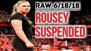 WWE RAW 6/18/18: Ronda Rousey Officially Suspended From WWE! & FINALLY Heel Sasha Banks Emerges!