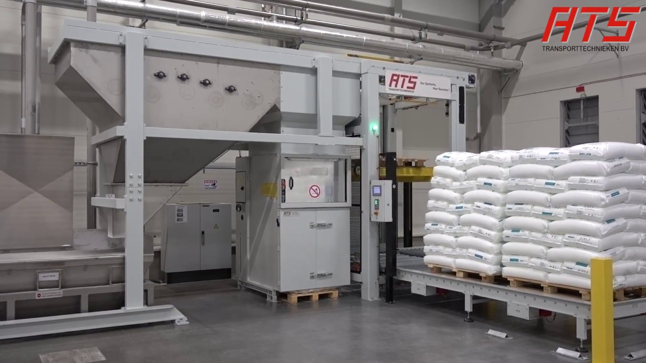 Bag opening and emptying with pallet transport and empty bag compactor