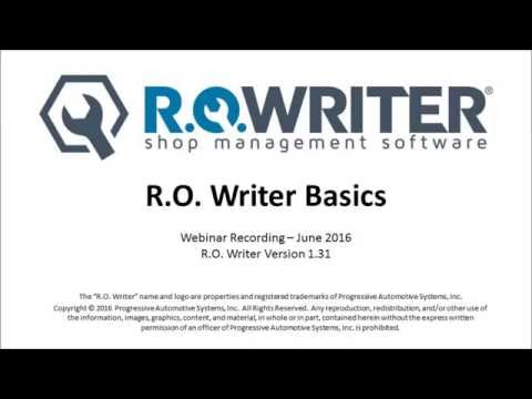 R.O. Writer Basics - R.O. Writer Recorded Webinar