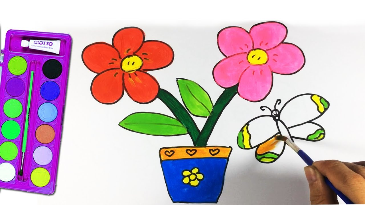 Learn coloring pages flower pot, butterfly and how to draw flower ...