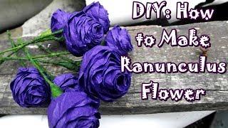 Cara Membuat Bunga dari Kertas Krep - DIY: How to make Ranunculus Flower