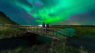 Aurora Above a Wood Bridge from Seljalandsfoss in Iceland