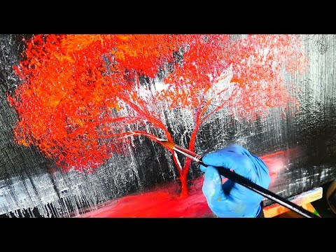Simple painting of a red tree on black and white ice painting techniques