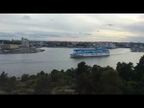 M/S Silja Serenade, M/S Romantika, M/S Galaxy, and others at ports in Stockholm.