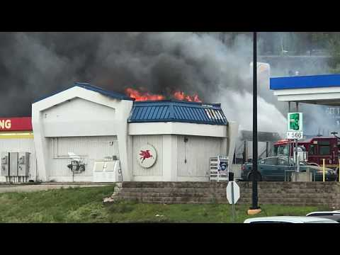 (watch with caution) 5-20-2017 fire at iron mountain burger king : gas station