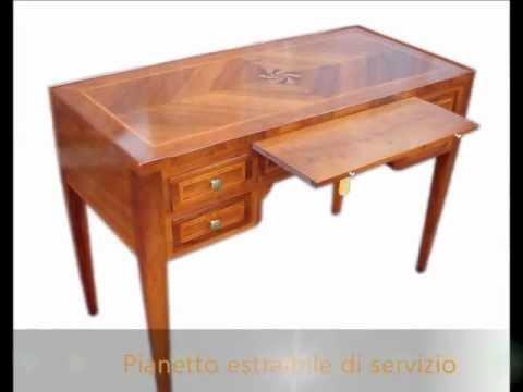 Scrittoio scrivania classica stile impero con pianetto estraibile ...
