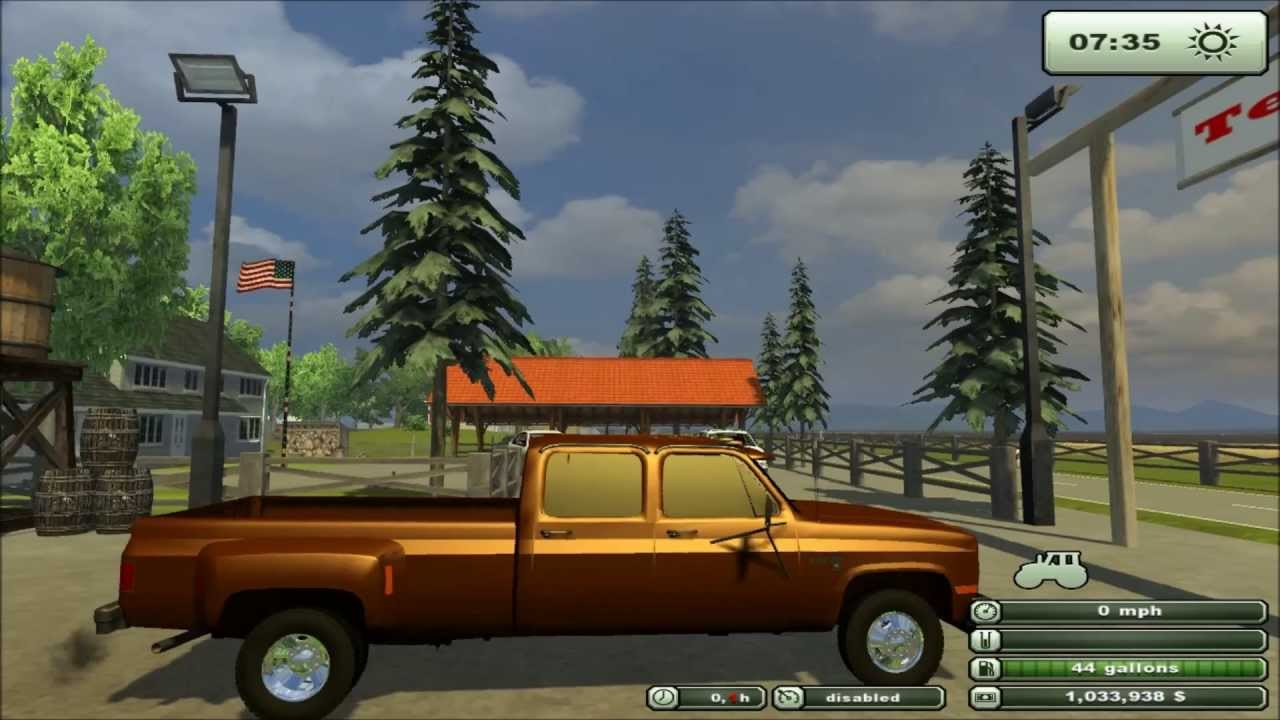 Farming simulator 2013 mod chevy 3500 pick up truck dual rear wheels youtube