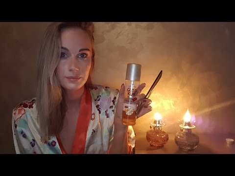 ASMR Candles and hair combing (soft spoken/whisper/tapping/sticky fingers/spray/personal attention)