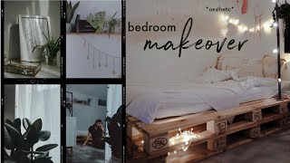 EXTREME BEDROOM MAKEOVER | aesthetic + pinterest inspired | diy pallet bed