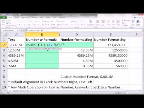 Excel Magic Trick 981: 123.45M From Text To Number, 123,450,000 From Number to 123.45M
