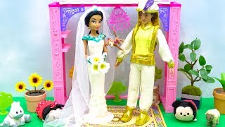 Wedding Day Routine Princess Jasmine Makeup Prince Aladdin Dress Suits Costume Disney Play Doh