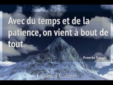 Proverbes Français.  . Avec du temps et de la patience, on vient à bout de tout.
