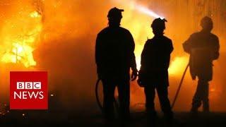 France: Corsica fires threaten homes in Biguglia - BBC News