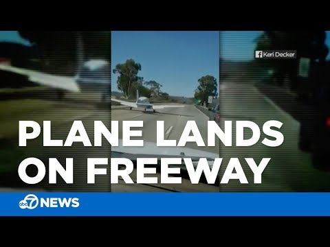 Small plane lands on freeway in San Diego