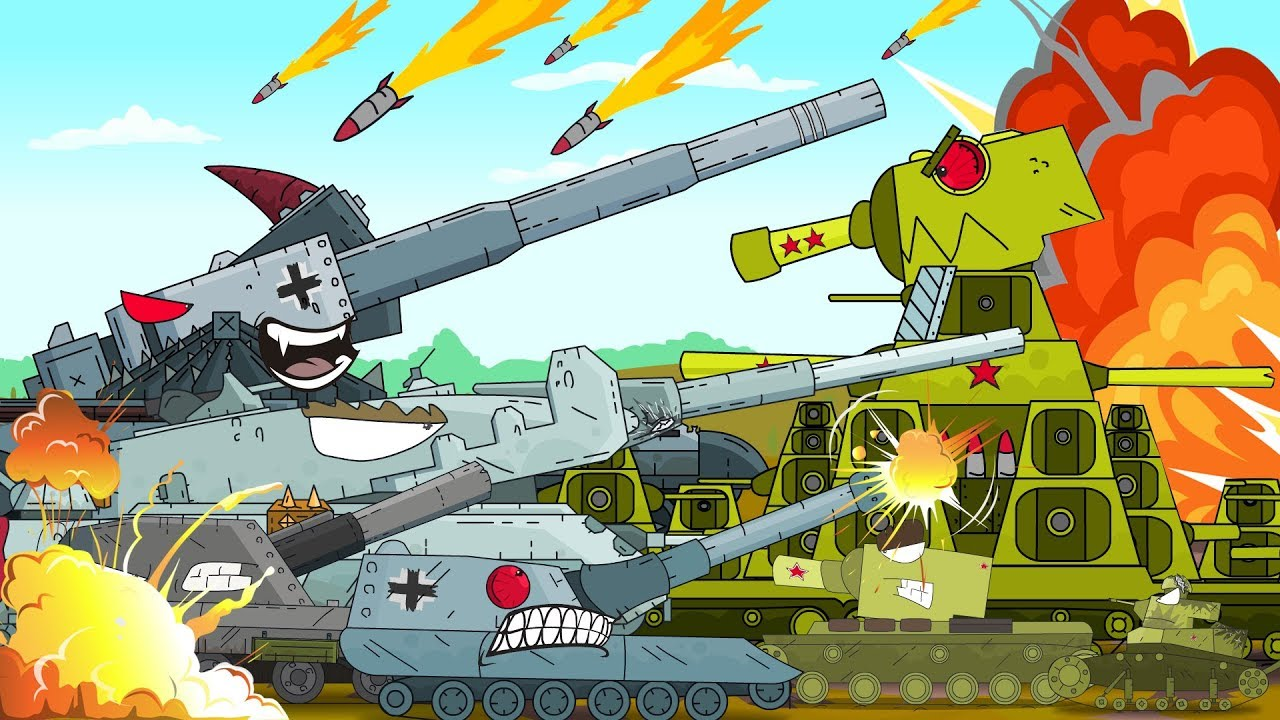 Tank Against An Army Of Enemies Monster Truck Cartoon For Children World Of Tanks Cartoon Youtube