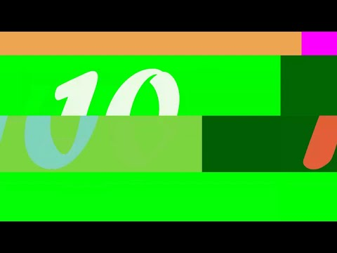 Glitch Green Screen 10 second Countdown with Bleep Effect (no copyright)