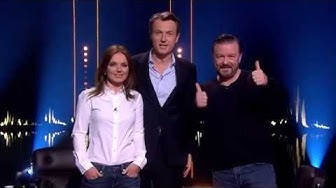 Geri Halliwell, Ricky Gervais and Fredrik Skavlan recording a trailer | SVT/NRK/Skavlan