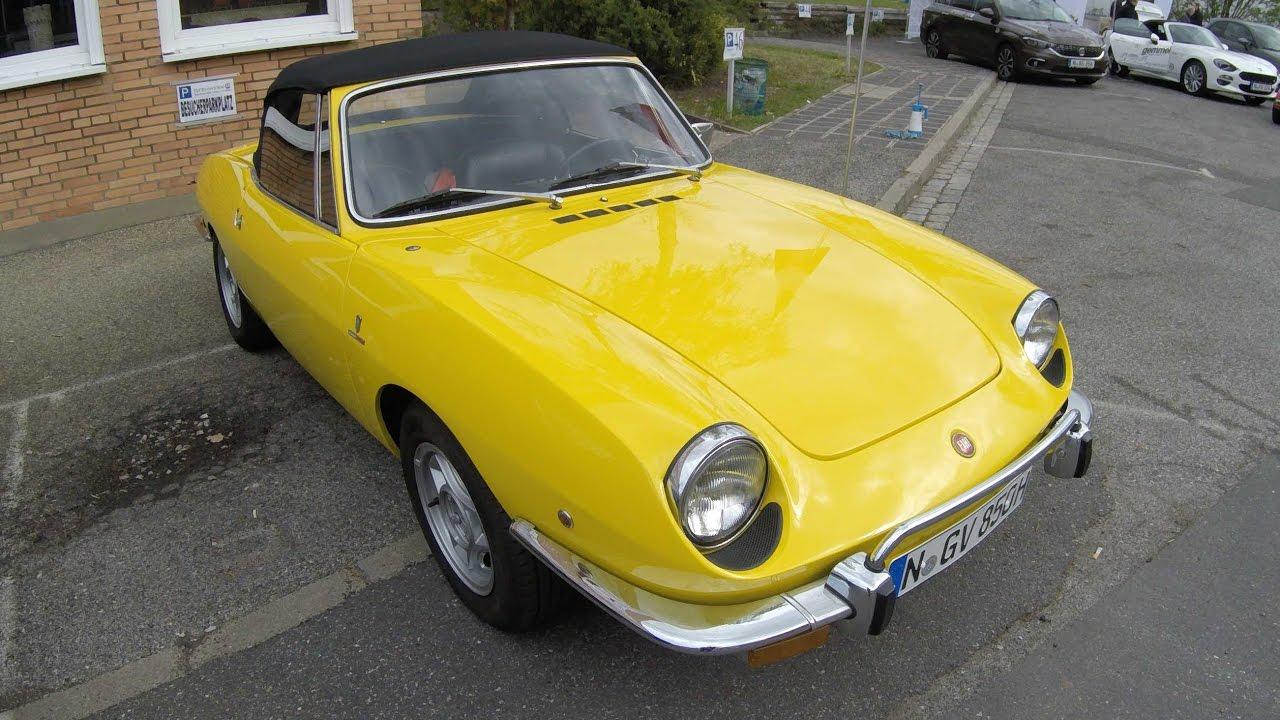 fiat 850 sport spider yellow colour walkaround bertone torino 1968 1973  [ 1280 x 720 Pixel ]