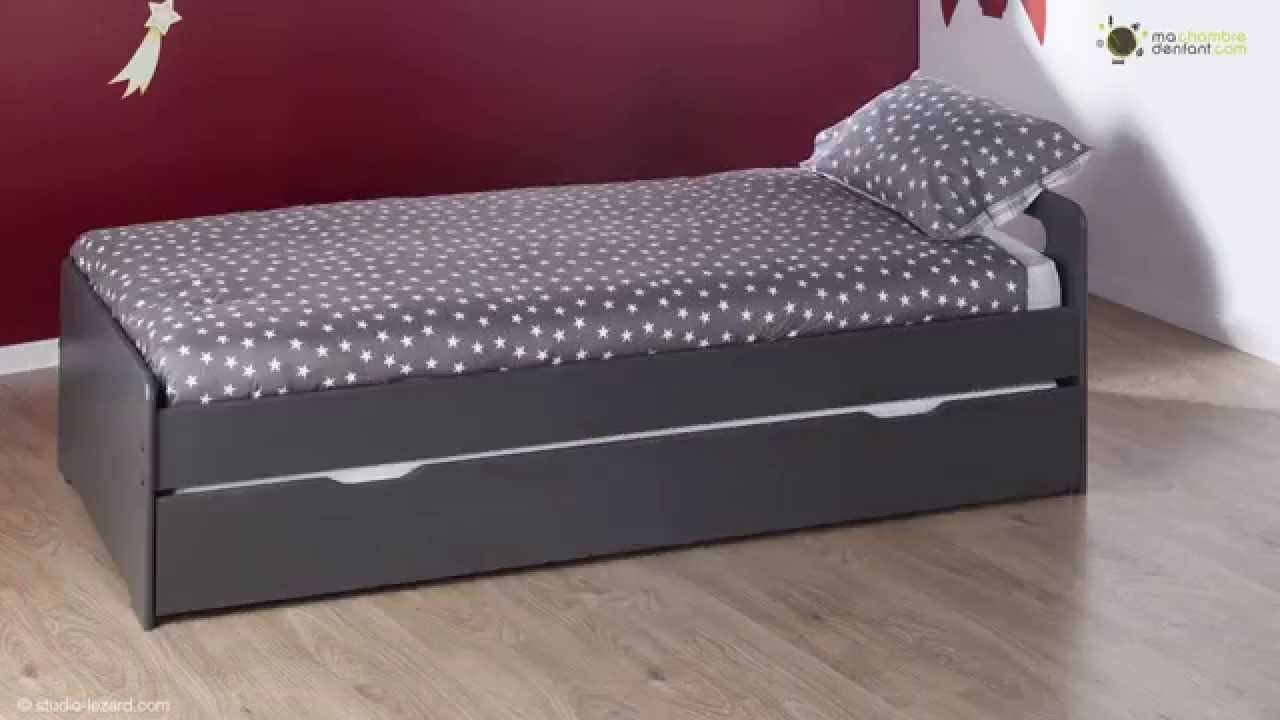 lit enfant gigogne eden gris ma chambre d 39 enfant youtube. Black Bedroom Furniture Sets. Home Design Ideas