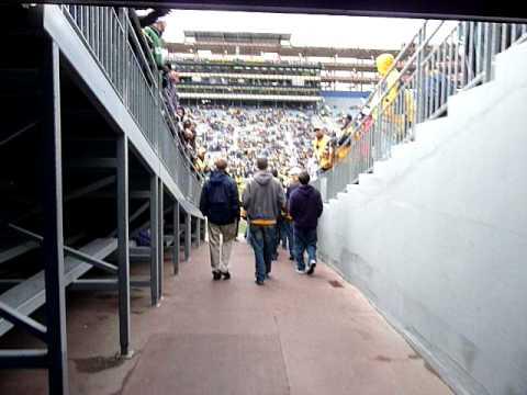 Walking through the Michigan Stadium tunnel