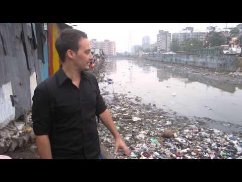 Slums open sewage Mumbai, India
